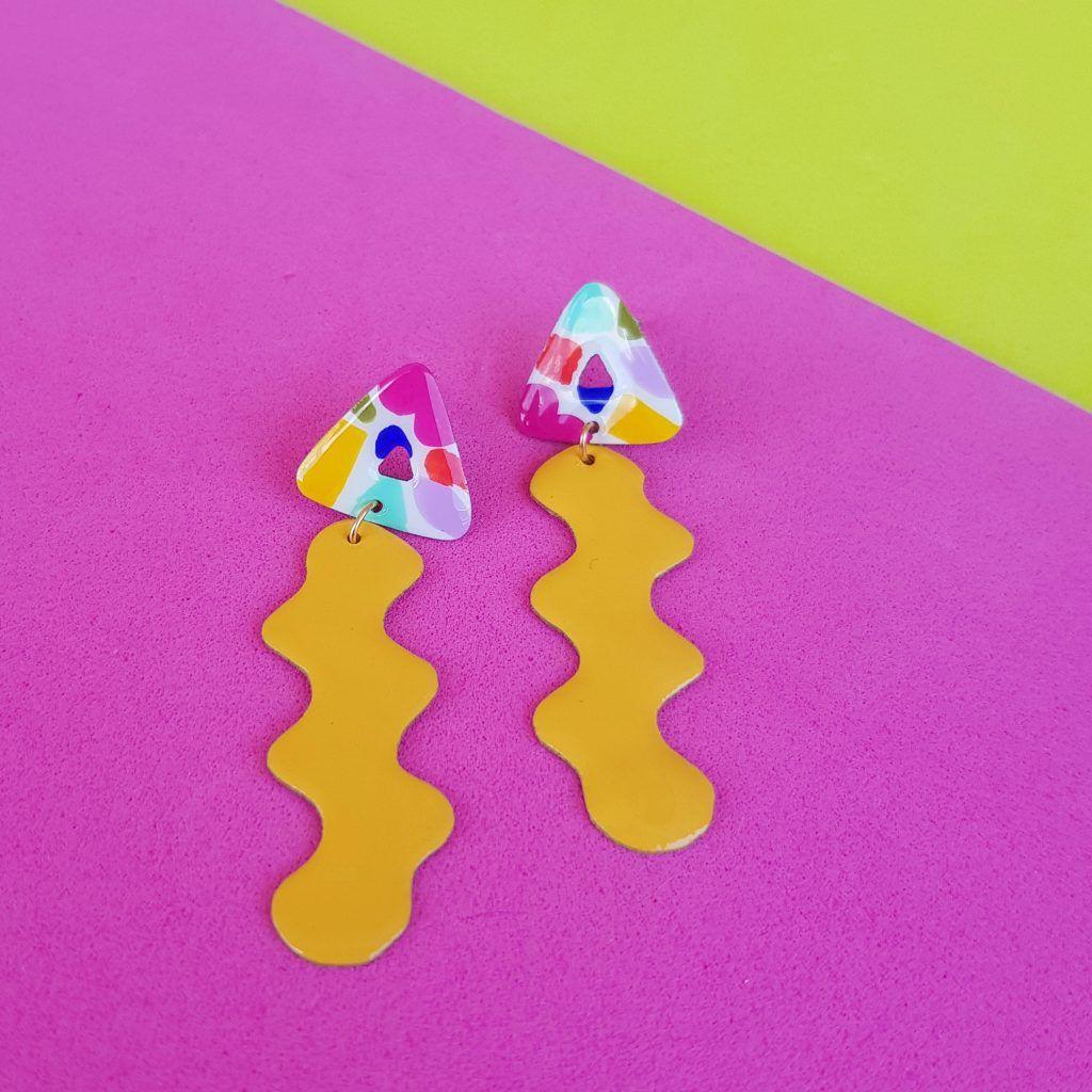 Pendientes de botón amarillo Mosaico