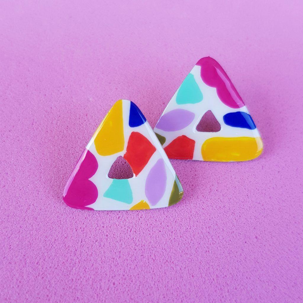 Pendientes botón triángulos Mosaico