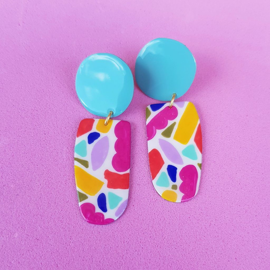 Pendientes de botón turquesa Mosaico