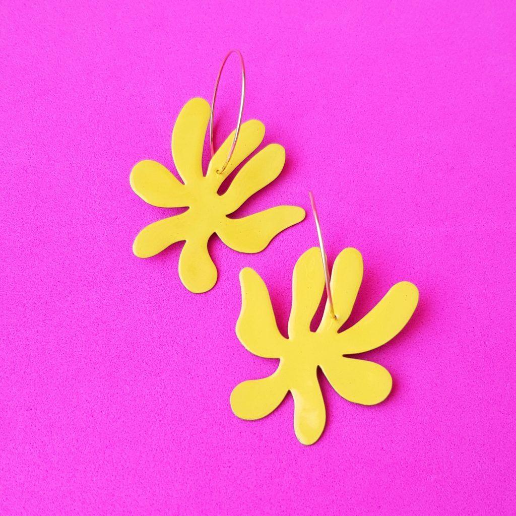 Pendientes de aro Flor amarilla