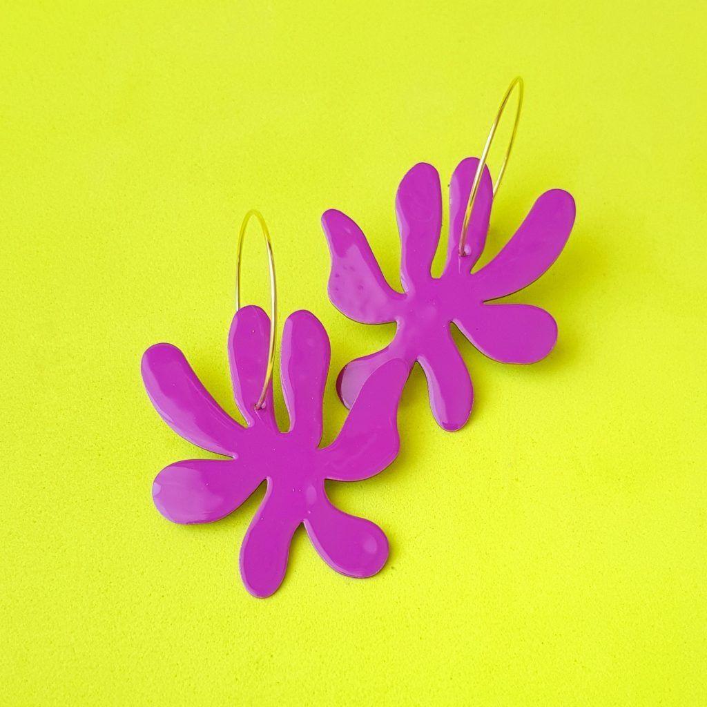 Pendientes de aro Flor violeta